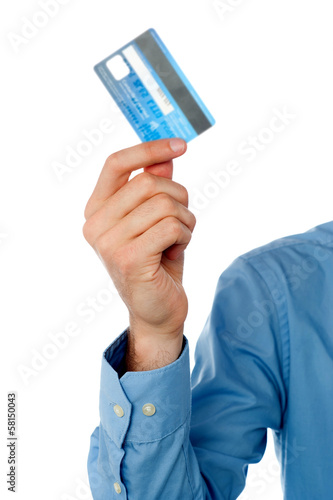 Guy showing credit card, cropped image.