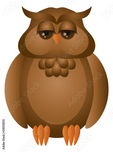 Brown Great Horned Owl Vector Illustration