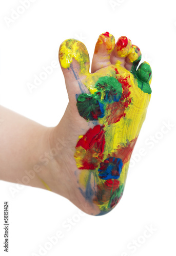 canvas print picture colored feet from young child