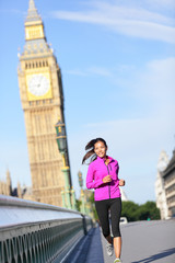 Woman running in London