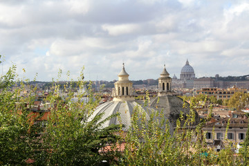 Panoramic Rome with St Peters Basilica
