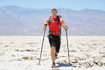 Ultra running man - trail runner in extreme race