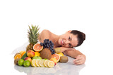 Beautiful woman  and fresh fruit,healthy life concept