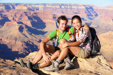 Hiking couple portrait - hikers in Grand Canyon