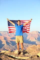 American USA flag - tourist in Grand Canyon