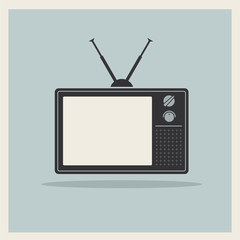 Retro crt tv receiver vector