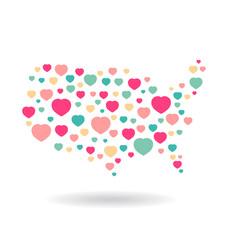 USA pattern hearts map