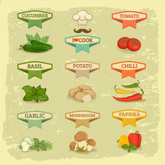 vegetables, garlic,  potato, basil, chilly, pepper, cucumber
