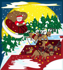 Santa Claus Riding Sleigh in the Bright Christmas Night