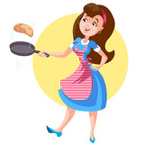 A woman in an apron with a frying pan