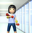 Cute woman has a muscle training with dumbbells.