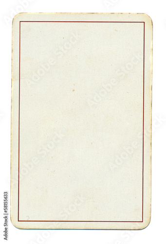 empty playing card paper background with line  isolated on white