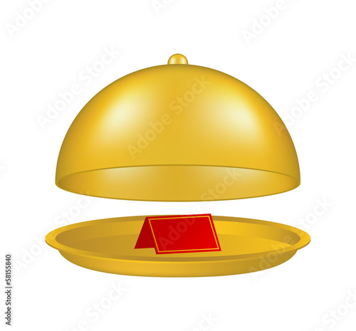 Open golden cloche with blank paper card