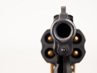 38 Snub Nose Revolver Weapon Gun Pointed at Viewer