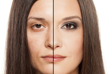 a woman's face with handing out before and after makeup