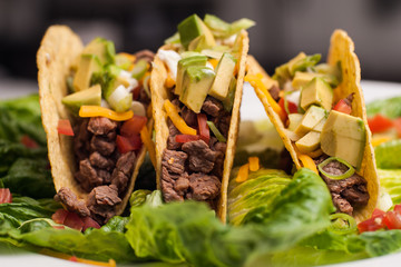 Trio of roast beef hard-shell tacos