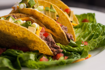 Trio of roast beef tacos