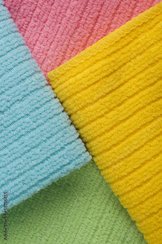 Four colored terry towels