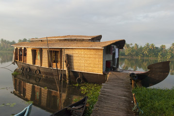 houseboat anchored in backwaters