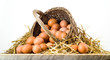 canvas print picture - Chicken eggs in basket isolated. Organic food