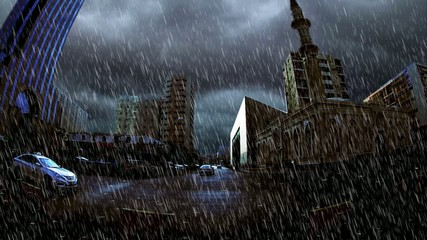 heavy rain over Marble mosque-masjed-in King Street in Jeddah