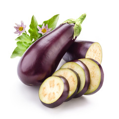 Eggplant with leaves and flowers isolated on white