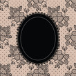 Black elegant doily on lace background for scrapbooks, albums