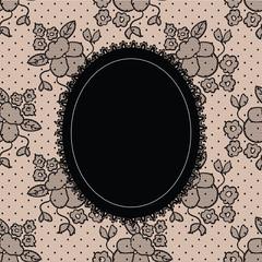 Black elegant doily on lace background for scrapbooks, albums