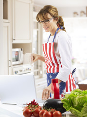 Happy woman cooking