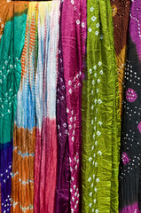 Tie dyed colorful saris, textile , Rajasthan, India