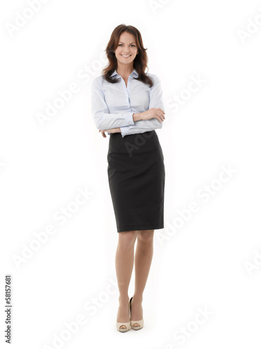 Full length portrait of a confident businesswoman on white