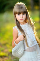 portrait of a beautiful little brunette girl