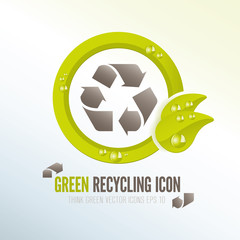 Green recycling icon for ecologic waste management