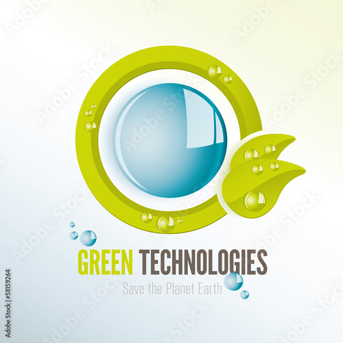 Green technologies icon with water drops