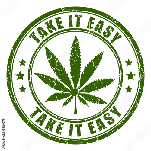 Cannabis leaf vector stamp