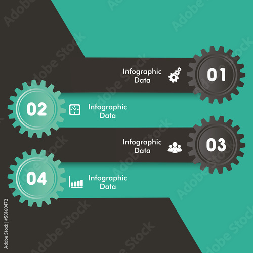 Illustration of colorful gears Info-graphics options banner