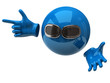 Blue sphere with sun glasses and hand with index finger