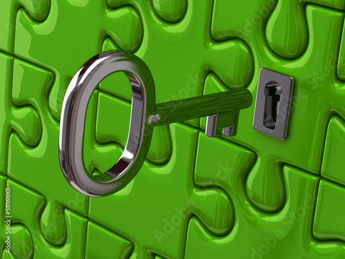 Illustration of silver key and green puzzle pieces