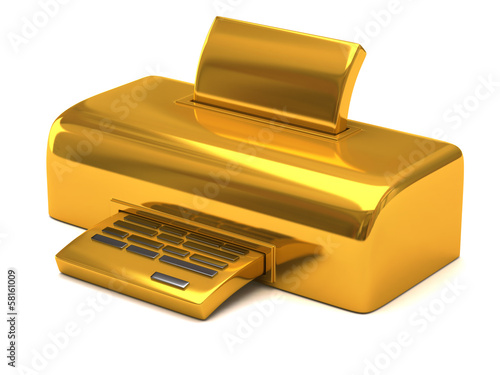 Illustration of golden printer isolated on white background