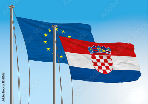 croatian and european union flags