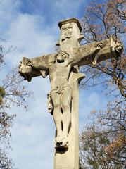 Jesus Crist statue on cemetery