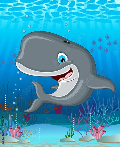 Whale cartoon smiling