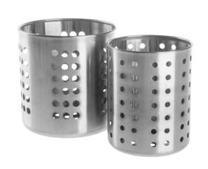Kitchen utensils holder on background.