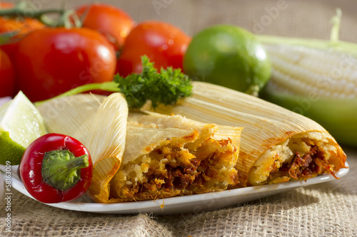 Poster, Tablou Mexican tamales on plate.