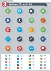 Flat webpage elements icon set