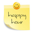 Zettel mit Smiley - happy hour