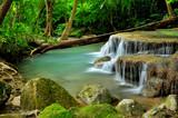 Green Waterfall in Tropical Rainforest
