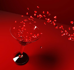 Dynamic cocktail with small hearts