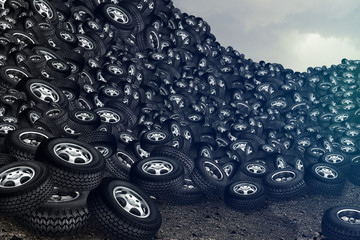 tires and cloudy sky background