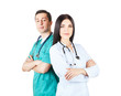 professional doctors in uniforms